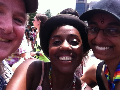 a happy day w/ my friends Ray & Preeti, Philly LGBT Pride 2013
